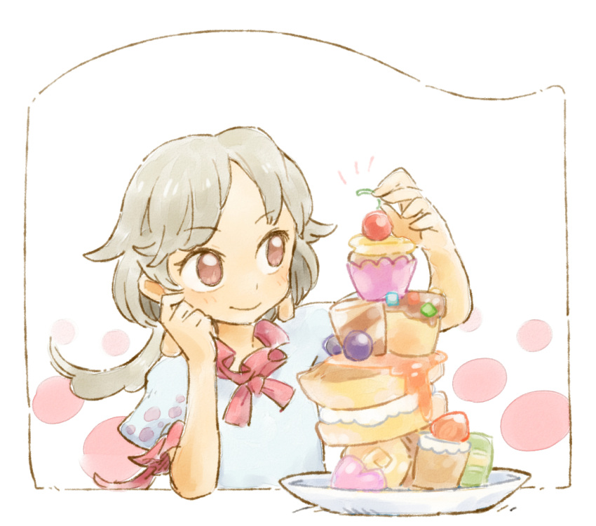 1girl border bow cherry commentary_request cupcake earlobes ebisu_eika food frills fruit icing long_hair puffy_short_sleeves puffy_sleeves red_bow red_eyes shirt short_sleeves smile solo stacking strawberry sweets syrup touhou white_background white_shirt ziro_(daydozen)