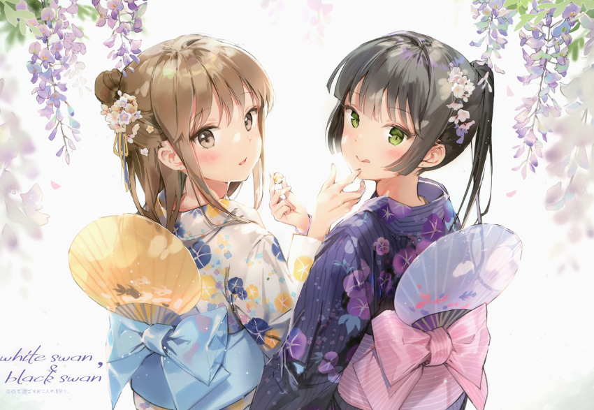 2girls :q absurdres anmi black_hair blue_kimono blush brown_hair fan floral_print flower green_eyes hair_flower hair_ornament highres holding huge_filesize japanese_clothes kimono long_hair looking_at_viewer looking_back multiple_girls obi one_side_up original paper_fan parted_lips ponytail purple_kimono sash scan smile standing tongue tongue_out uchiwa wisteria yukata