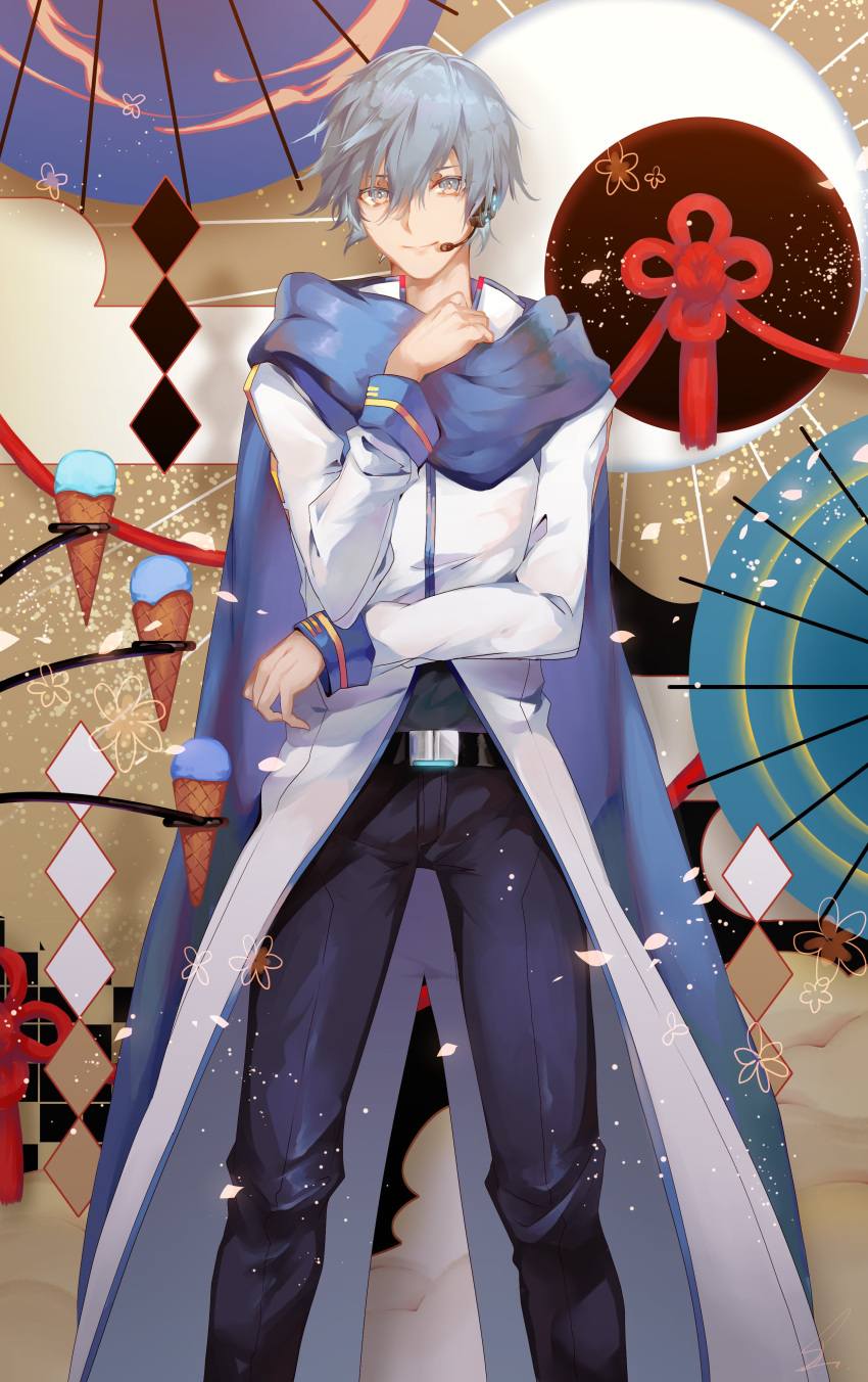 1boy abstract_background absurdres argyle argyle_background arm_across_waist beige_background belt blue_eyes blue_hair blue_scarf blue_umbrella candy coat floral_background flower food happy headset highres ice_cream ice_cream_cone kaito legs_apart light_particles looking_at_viewer male_focus multicolored multicolored_background oriental_umbrella pants petals saihate_(d3) scarf signature simple_background smile standing sweets umbrella upper_body vocaloid white_coat