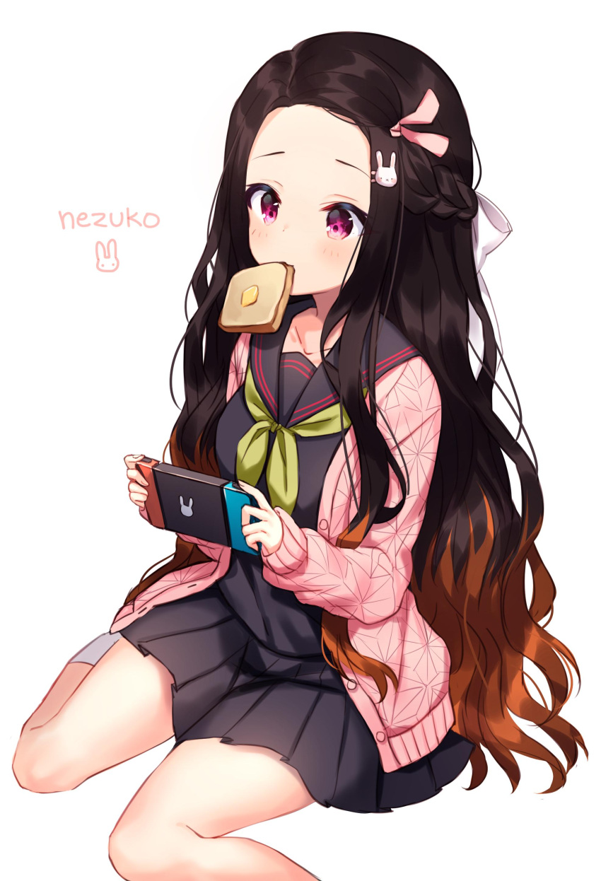 1girl absurdres black_hair black_serafuku black_skirt braid brown_hair bunny_hair_ornament character_name collarbone contemporary food food_in_mouth forehead french_braid hair_ornament hair_ribbon hairclip handheld_game_console highres jacket kamado_nezuko kimetsu_no_yaiba long_hair mouth_hold multicolored_hair pink_eyes pink_jacket pink_ribbon pleated_skirt ribbon school_uniform serafuku shouu-kun simple_background sitting skirt solo toast toast_in_mouth two-tone_hair very_long_hair white_background white_ribbon