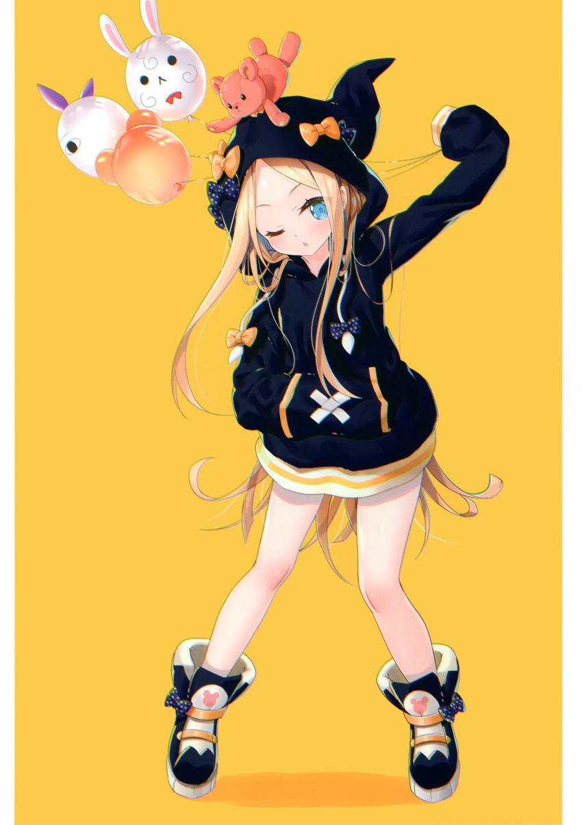 1girl ;o abigail_williams_(fate/grand_order) absurdres alternate_costume arm_up balloon bangs black_bow black_footwear black_hoodie blonde_hair blue_eyes blush boots bow chromatic_aberration eyebrows_visible_through_hair fate/grand_order fate_(series) forehead fou_(fate/grand_order) full_body hand_in_pocket head_tilt highres hood hood_up hoodie long_hair long_sleeves looking_at_viewer medjed non-web_source one_eye_closed orange_background orange_bow outstretched_arm parted_bangs parted_lips polka_dot polka_dot_bow scan signature simple_background sleeves_past_fingers sleeves_past_wrists solo standing stuffed_animal stuffed_toy teddy_bear twitter_username very_long_hair yano_mitsuki yellow_background