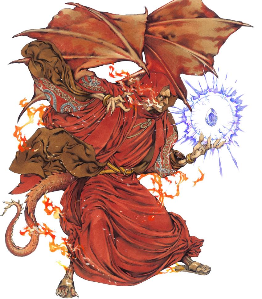 1boy bantu bat_wings belt bracelet dragon_tail fire fire_emblem fire_emblem:_mystery_of_the_emblem fire_emblem_heroes full_body gem highres hood jewelry manakete official_art old_man red_eyes sandals solo tail teeth transparent_background wings yamada_akihiro