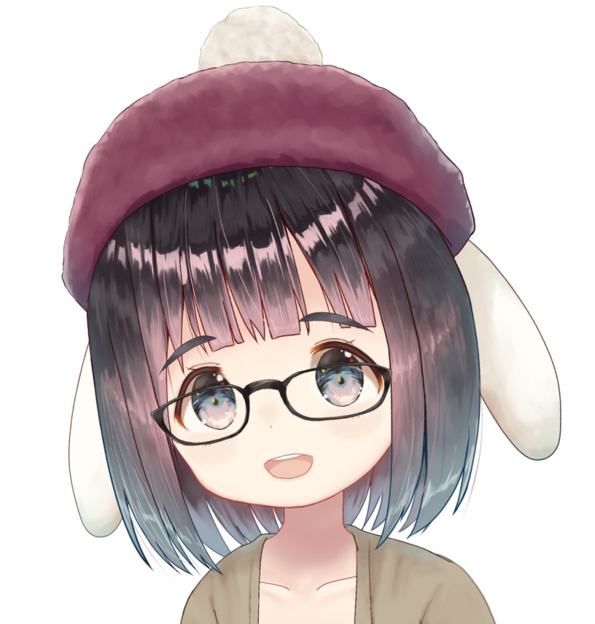 1girl :d animal_ears bangs beret black-framed_eyewear black_hair blush brown_headwear brown_jacket collarbone copyright_request eyebrows_visible_through_hair glasses grey_eyes hat jacket looking_at_viewer mimikaki_(men_bow) open_clothes open_jacket open_mouth rabbit_ears round_teeth simple_background smile teeth thick_eyebrows upper_body upper_teeth virtual_youtuber