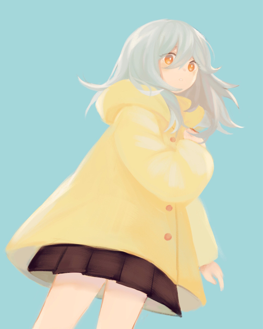 1girl aqua_background arm_at_side bangs black_skirt blush buttons daisy_(dchw21) eyelashes eyes_visible_through_hair from_below hair_between_eyes hand_on_own_chest highres hood hood_down hooded_coat long_hair long_sleeves looking_at_viewer original parted_lips pleated_skirt raincoat silver_hair simple_background skirt solo yellow_coat yellow_eyes