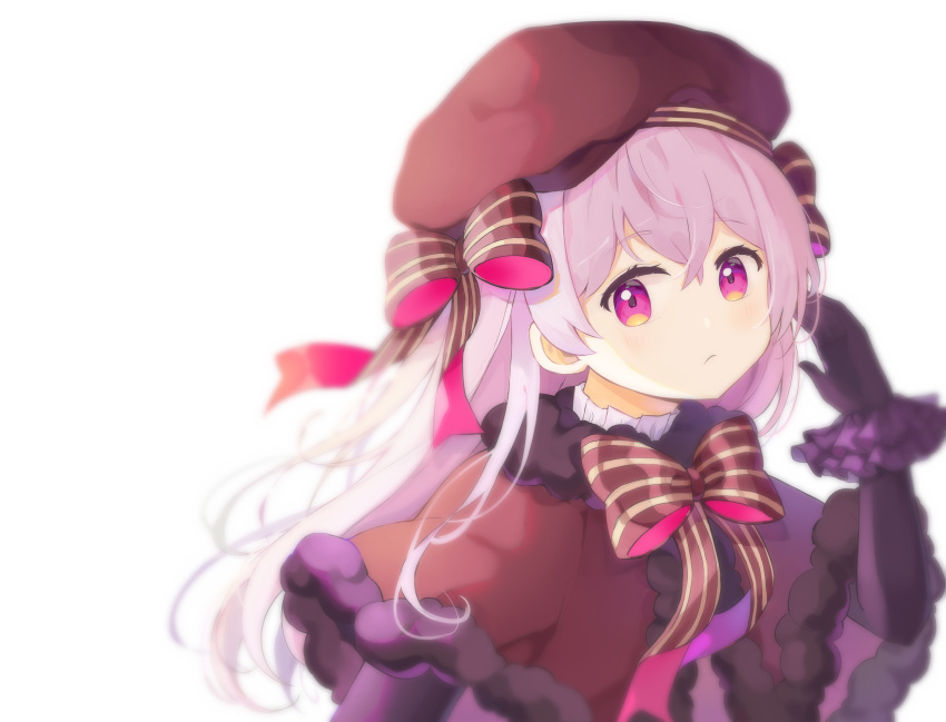 1girl absurdres bangs black_gloves blurry bow braid brown_bow brown_headwear brown_neckwear chun_sam dress elbow_gloves fate/extra fate/grand_order fate_(series) frown fur_trim gloves hand_up hat highres long_hair looking_at_viewer nursery_rhyme_(fate/extra) purple_scrunchie scrunchie silver_hair simple_background smile solo striped striped_bow upper_body violet_eyes white_background wrist_scrunchie