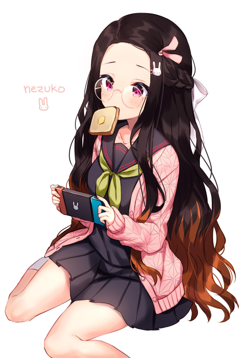 1girl absurdres bespectacled black_hair black_serafuku black_skirt braid brown_hair bunny_hair_ornament character_name collarbone commentary contemporary food food_in_mouth forehead french_braid glasses hair_ornament hair_ribbon hairclip handheld_game_console highres jacket kamado_nezuko kimetsu_no_yaiba long_hair mouth_hold multicolored_hair pink_eyes pink_jacket pink_ribbon pleated_skirt ribbon round_eyewear school_uniform serafuku shouu-kun simple_background sitting skirt solo toast toast_in_mouth two-tone_hair very_long_hair white_background white_ribbon