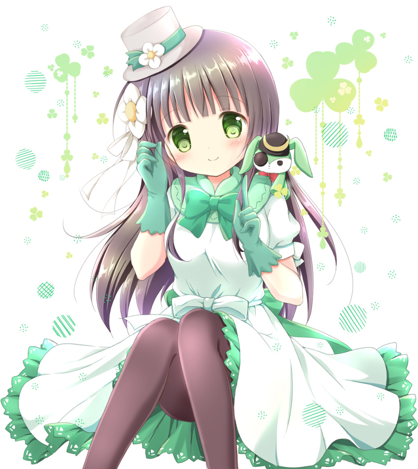 1girl bangs black_headwear blunt_bangs blush bow breasts brown_hair brown_legwear closed_mouth commentary_request dress eyebrows_visible_through_hair eyepatch feet_out_of_frame flower frilled_dress frills gloves gochuumon_wa_usagi_desu_ka? green_bow green_eyes green_gloves grey_headwear hair_flower hair_ornament hands_up hat hat_flower head_tilt highres knees_up long_hair medium_breasts nanase_miori pantyhose puffy_short_sleeves puffy_sleeves short_sleeves sitting smile solo stuffed_animal stuffed_bunny stuffed_toy tilted_headwear ujimatsu_chiya very_long_hair white_bow white_dress white_flower