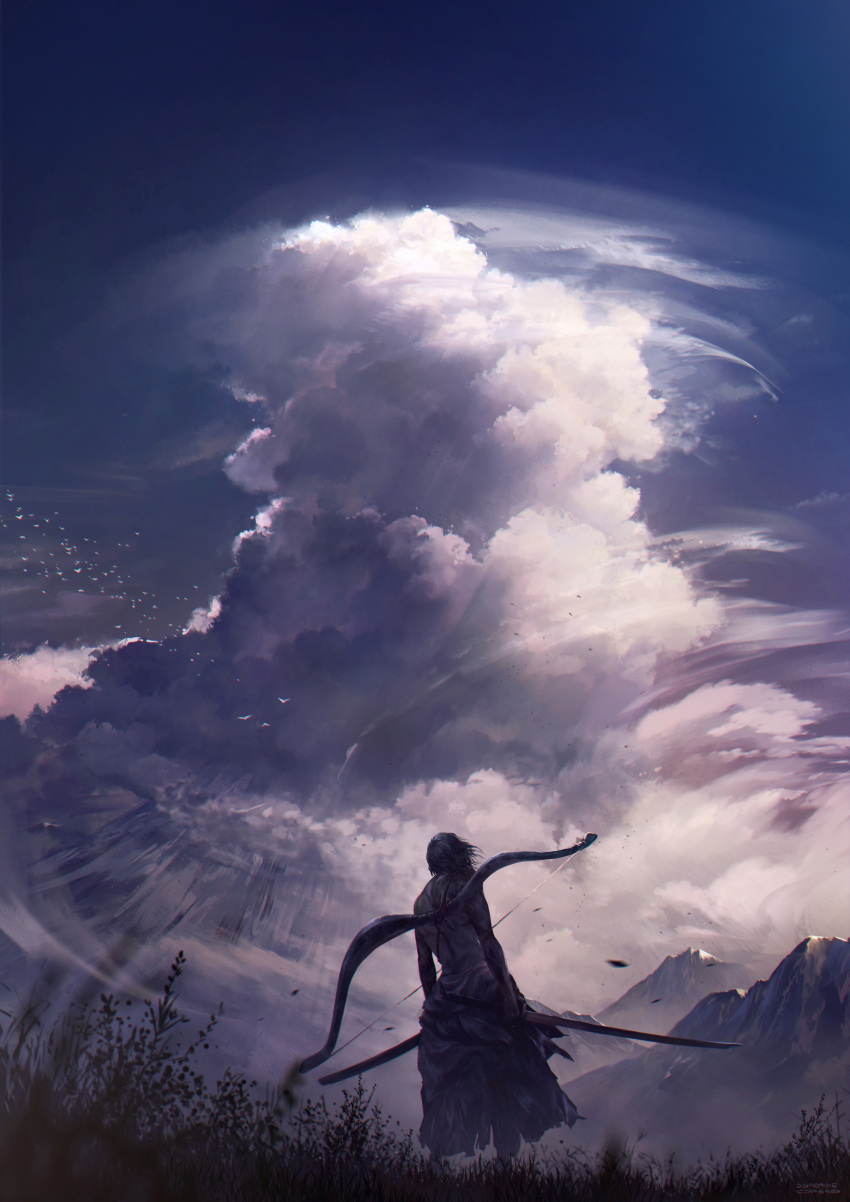 1boy absurdres ashina_genichirou bird black_hair bow_(weapon) chromatic_aberration clouds from_behind highres katana male_focus mountain scenery sekiro:_shadows_die_twice shirtless sword weapon