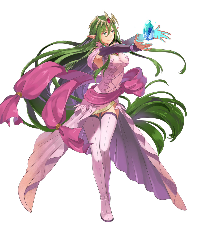 1girl boots breasts closed_mouth dress fire_emblem fire_emblem:_mystery_of_the_emblem fire_emblem_heroes floating floating_object full_body green_eyes green_hair hair_ornament highres jewelry long_hair low_twintails medium_breasts nagi_(fire_emblem) non-web_source official_art okaya_mrh pink_dress pointy_ears shiny shiny_hair smile solo stone thigh-highs thigh_boots tiara transparent_background twintails very_long_hair