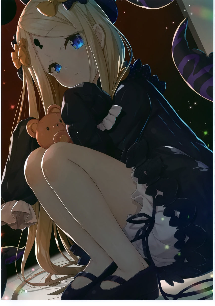 1girl abigail_williams_(fate/grand_order) absurdres bangs black_bow black_dress black_footwear black_headwear blonde_hair bloomers blue_eyes blush bow bug butterfly closed_mouth dress dutch_angle eyebrows_visible_through_hair fate/grand_order fate_(series) hair_bow hat head_tilt highres insect keyhole long_hair long_sleeves looking_at_viewer mary_janes non-web_source object_hug orange_bow parted_bangs polka_dot polka_dot_bow scan shoes sleeves_past_fingers sleeves_past_wrists solo squatting stuffed_animal stuffed_toy suction_cups teddy_bear tentacles underwear very_long_hair white_bloomers yano_mitsuki