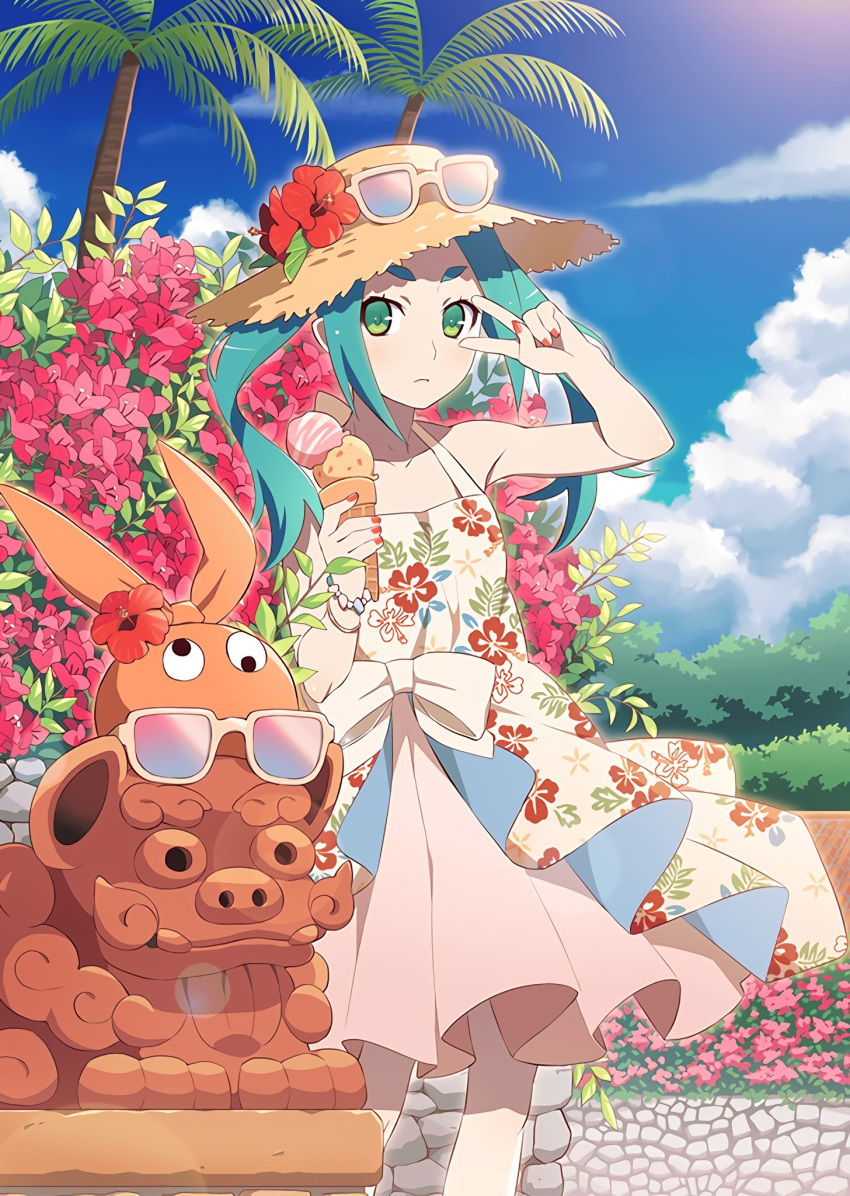1girl aqua_hair closed_mouth day dress eyebrows eyewear_on_headwear floral_print flower food green_eyes hat hat_flower hibiscus highres ice_cream ice_cream_cone looking_at_viewer monogatari_(series) monogatari_series_puc_puc official_art ononoki_yotsugi palm_tree red_nails short_eyebrows solo straw_hat sun_hat sundress sunglasses thick_eyebrows tree tropical twintails v v_over_eye watanabe_akio