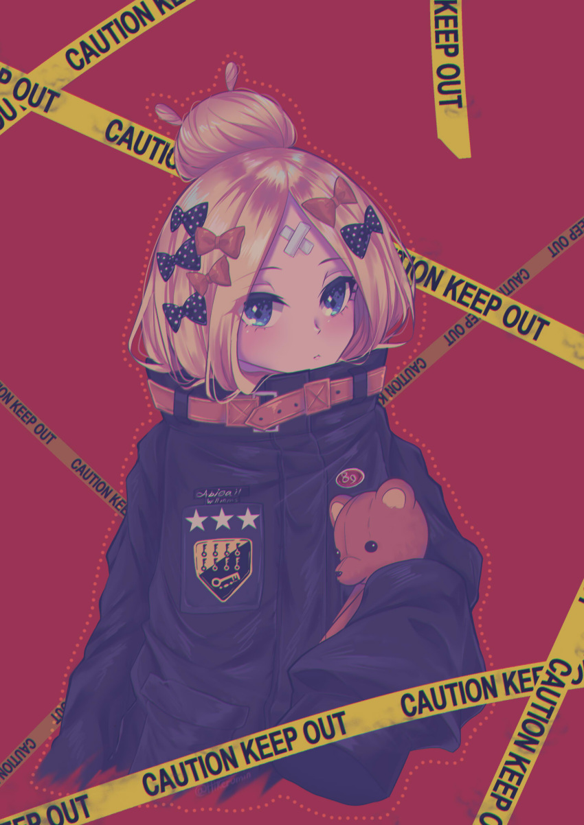 1girl abigail_williams_(fate/grand_order) bangs black_bow black_jacket blonde_hair blue_eyes blush bow caution_tape character_name closed_mouth commentary_request cropped_torso crossed_bandaids eyebrows_visible_through_hair fate/grand_order fate_(series) hair_bow hair_bun heroic_spirit_traveling_outfit highres hikeru_(hikerumin) jacket keep_out key long_hair long_sleeves looking_at_viewer object_hug orange_bow parted_bangs polka_dot polka_dot_bow red_background simple_background sleeves_past_fingers sleeves_past_wrists solo star stuffed_animal stuffed_toy teddy_bear