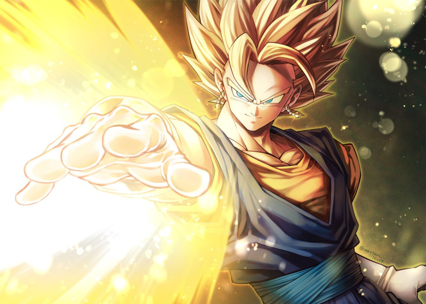 1boy arm_at_side black_background blonde_hair blue_eyes blurry blurry_foreground bokeh dark_background depth_of_field dougi dragon_ball dragon_ball_z dutch_angle earrings energy floating_hair frown gloves glowing glowing_earrings gradient gradient_background grin jewelry light_particles looking_away male_focus mattari_illust outstretched_arm potara_earrings shaded_face simple_background smile spiky_hair super_saiyan twitter_username upper_body vegetto weapon white_background white_gloves yellow_background