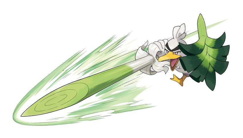 absurdres arm_up artist_request brown_eyes energy full_body half-closed_eyes highres holding huge_filesize no_humans official_art open_mouth outline outstretched_arm pokemon pokemon_(creature) pokemon_(game) pokemon_swsh polearm running shield sirfetch'd solo spear spring_onion transparent_background weapon white_outline