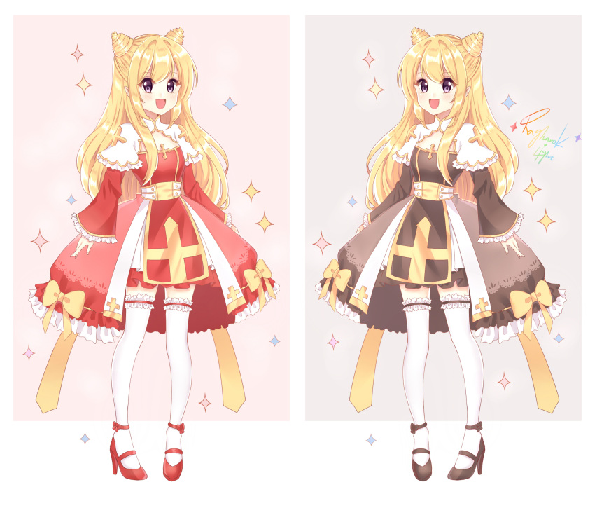 1girl :d bangs black_footwear blonde_hair blush bow brown_dress commentary_request double_bun dress eyebrows_visible_through_hair fingernails frilled_legwear frilled_sleeves frills full_body grey_background hair_between_eyes high_heels high_priest highres light_(luxiao_deng) long_hair long_sleeves multicolored multicolored_background multiple_views open_mouth pink_background ragnarok_online shoes sidelocks sleeves_past_wrists smile sparkle standing thigh-highs very_long_hair violet_eyes white_background white_legwear wide_sleeves yellow_bow