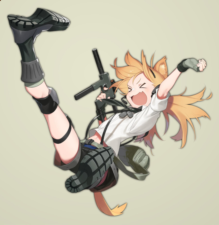 >_< 1girl amrkdrw animal_ears bag blonde_hair boots commentary_request dog_tags fang fingerless_gloves flat_chest girls_frontline gloves gun happy headset highres idw_(girls_frontline) jumping knee_pads low_twintails necktie optical_sight satchel shorts simple_background submachine_gun suspenders tail twintails weapon