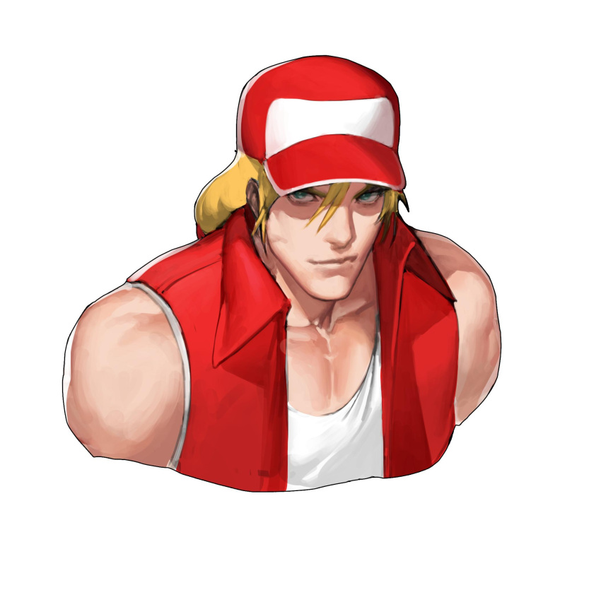 1boy baseball_cap blonde_hair blue_eyes fatal_fury fingerless_gloves gloves hat highres jacket long_hair looking_at_viewer male_focus muscle ponytail simple_background smile solo super_smash_bros. terry_bogard the_king_of_fighters white_background zelus