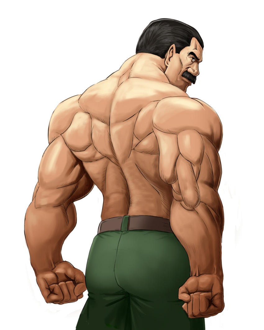 1boy ass back belt black_eyes black_hair clenched_hand cowboy_shot facial_hair final_fight green_pants highres looking_back male_focus mike_haggar muscle mustache old_man pants shirtless simple_background solo taka_(takahirokun) white_background