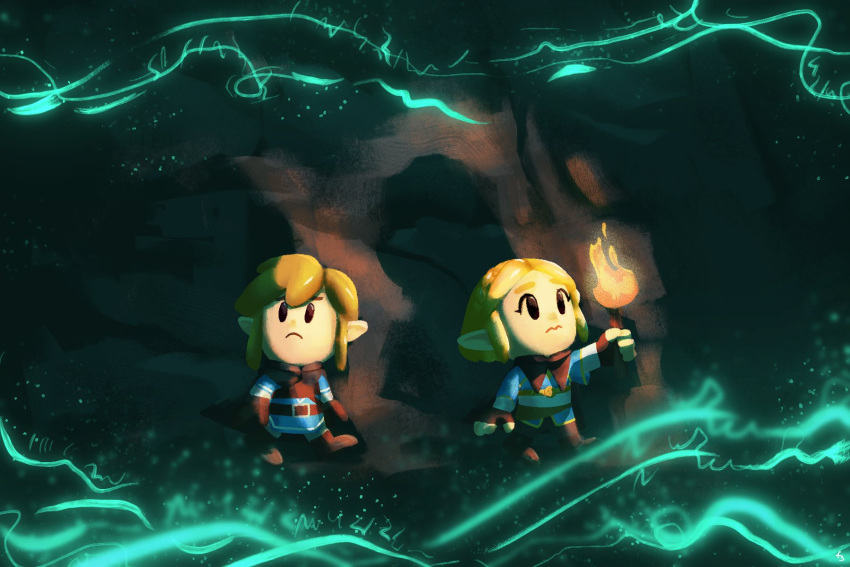 1boy 1girl blonde_hair boots brown_gloves brown_pants closed_mouth energy fern_bautista fingerless_gloves gloves highres link pants parody pointy_ears princess_zelda short_hair sidelocks style_parody the_legend_of_zelda the_legend_of_zelda:_breath_of_the_wild the_legend_of_zelda:_breath_of_the_wild_2 the_legend_of_zelda:_link's_awakening torch tunic wavy_mouth