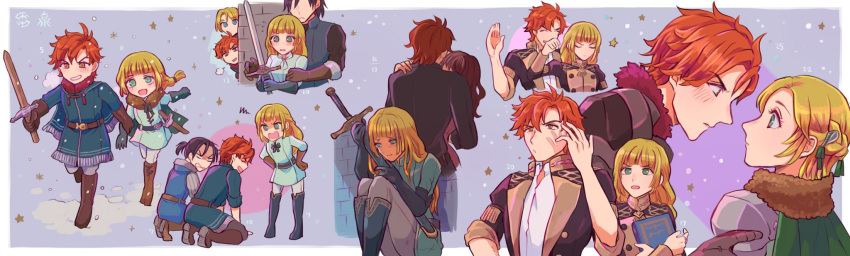 2girls 3boys blonde_hair blue_eyes coat dress felix_hugo_fraldarius fire_emblem fire_emblem:_three_houses from_side gloves green_eyes grin hg_njm highres holding holding_hands holding_sword holding_weapon ingrid_brandol_galatea jacket kneeling long_hair long_sleeves multiple_boys multiple_girls open_mouth red_eyes redhead short_hair short_sleeves sitting smile sword sylvain_jose_gautier tearing_up weapon younger
