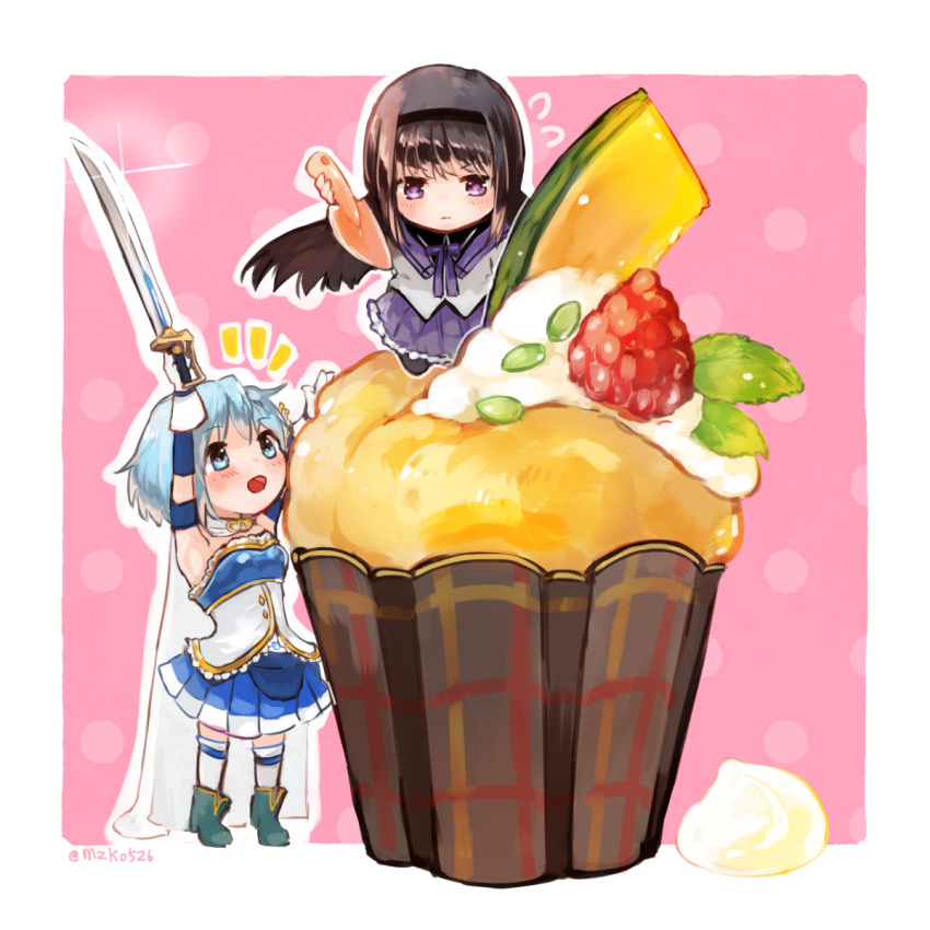 2girls akemi_homura bangs black_hair blue_eyes blue_hair bow bowtie cape chibi cupcake food fruit headband highres long_hair looking_up mahou_shoujo_madoka_magica miki_sayaka multiple_girls mzk0526 open_mouth short_hair skirt smile sweatdrop sword trowel twitter_username weapon