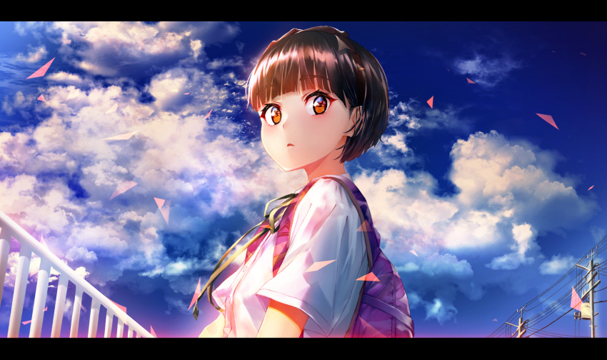 1girl backpack bag bangs blue_sky brown_hair clouds cloudy_sky commentary_request day dress_shirt eyebrows_visible_through_hair green_ribbon highres letterboxed marshall_(wahooo) neck_ribbon orange_eyes original outdoors parted_lips power_lines railing ribbon shirt short_hair short_sleeves sky solo telephone_pole thick_eyebrows white_shirt
