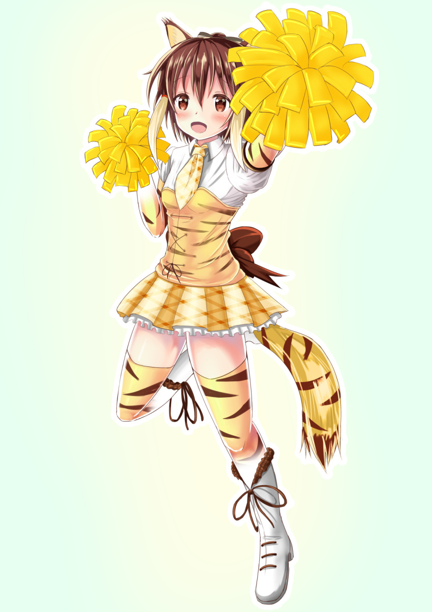 1girl :d anima_yell! animal_ears animal_print blonde_hair blush boots breasts brown_eyes brown_hair cheerleader collared_shirt commentary_request cosplay eyebrows_visible_through_hair full_body hair_between_eyes highres kemono_friends leg_up multicolored_hair necktie open_mouth pom_poms shirt small_breasts smile smilodon_(kemono_friends) smilodon_(kemono_friends)_(cosplay) solo tail tatejima_kotetsu thigh-highs tiger_ears tiger_print tiger_tail utopia_(fantomubureibum2) white_footwear white_shirt wing_collar yellow_neckwear