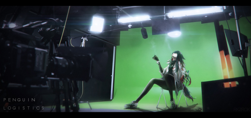 1girl arknights black_hair black_legwear boom_microphone chair cigarette coat english_text folding_chair fur_trim gloves green_screen highres indoors letterboxed lights long_hair looking_away looking_up microphone multicolored_hair name_tag open_clothes open_coat pantyhose red_gloves redhead rkzrok shoes sitting smoke smoking sneakers solo streaked_hair tail texas_(arknights) video_camera white_coat wide_shot