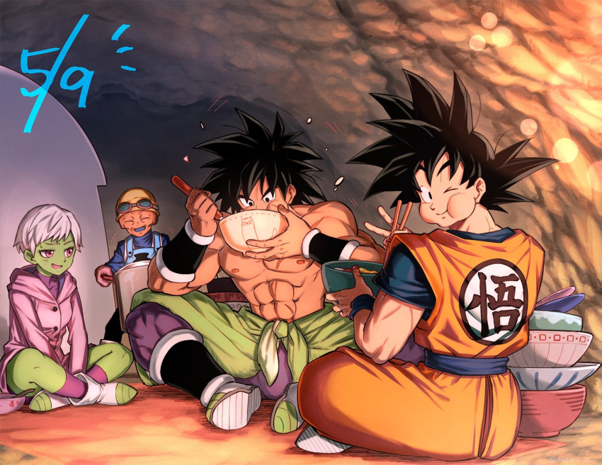 1girl 3boys :d ;) ^_^ abs apron backlighting bah_(dragon_ball) black_eyes black_hair blurry bokeh boots bowl broly_(dragon_ball_super) cave cheelai chest_scar chopsticks closed_eyes clothes_writing coat depth_of_field dougi dragon_ball dragon_ball_super eating eyelashes eyewear_on_head eyewear_removed facial_scar fingernails full_body goggles goggles_on_head green_skin happy hat holding holding_bowl holding_chopsticks holding_pot holding_spoon indian_style indoors lemo_(dragon_ball) looking_at_another looking_back looking_down mattari_illust multiple_boys nervous number objectification one_eye_closed open_mouth orange_skin pot puffy_cheeks purple_coat purple_legwear scar scar_on_cheek shirtless short_hair sitting smile son_gokuu spiky_hair spoon sweatdrop v very_short_hair violet_eyes waist_cape white_hair wristband yellow_headwear
