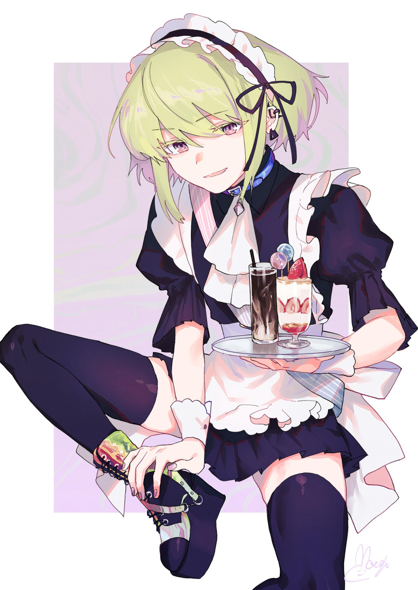 1boy absurdres alternate_costume apron cup drinking_glass ear_piercing earrings enmaided food green_hair highres ice_cream jewelry lio_fotia maid maid_apron maid_headdress male_focus moegi0926 open_mouth otoko_no_ko piercing promare solo thigh-highs violet_eyes waist_apron white_apron