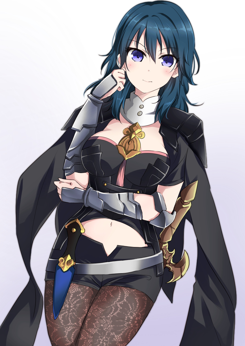 1girl absurdres armor black_shorts blue_eyes blue_hair byleth_(fire_emblem) byleth_(fire_emblem)_(female) closed_mouth dagger fire_emblem fire_emblem:_three_houses highres medium_hair pantyhose scabbard sheath sheathed short_shorts shorts simple_background solo sword weapon white_background zero-theme