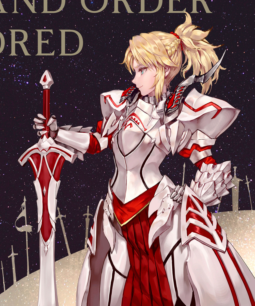 1girl armor armored_dress blonde_hair braid breasts commentary_request fate/grand_order fate_(series) from_side green_eyes hair_ornament hair_scrunchie highres holding holding_sword holding_weapon long_hair mordred_(fate) mordred_(fate)_(all) ozma ponytail red_scrunchie scrunchie smile solo sword weapon
