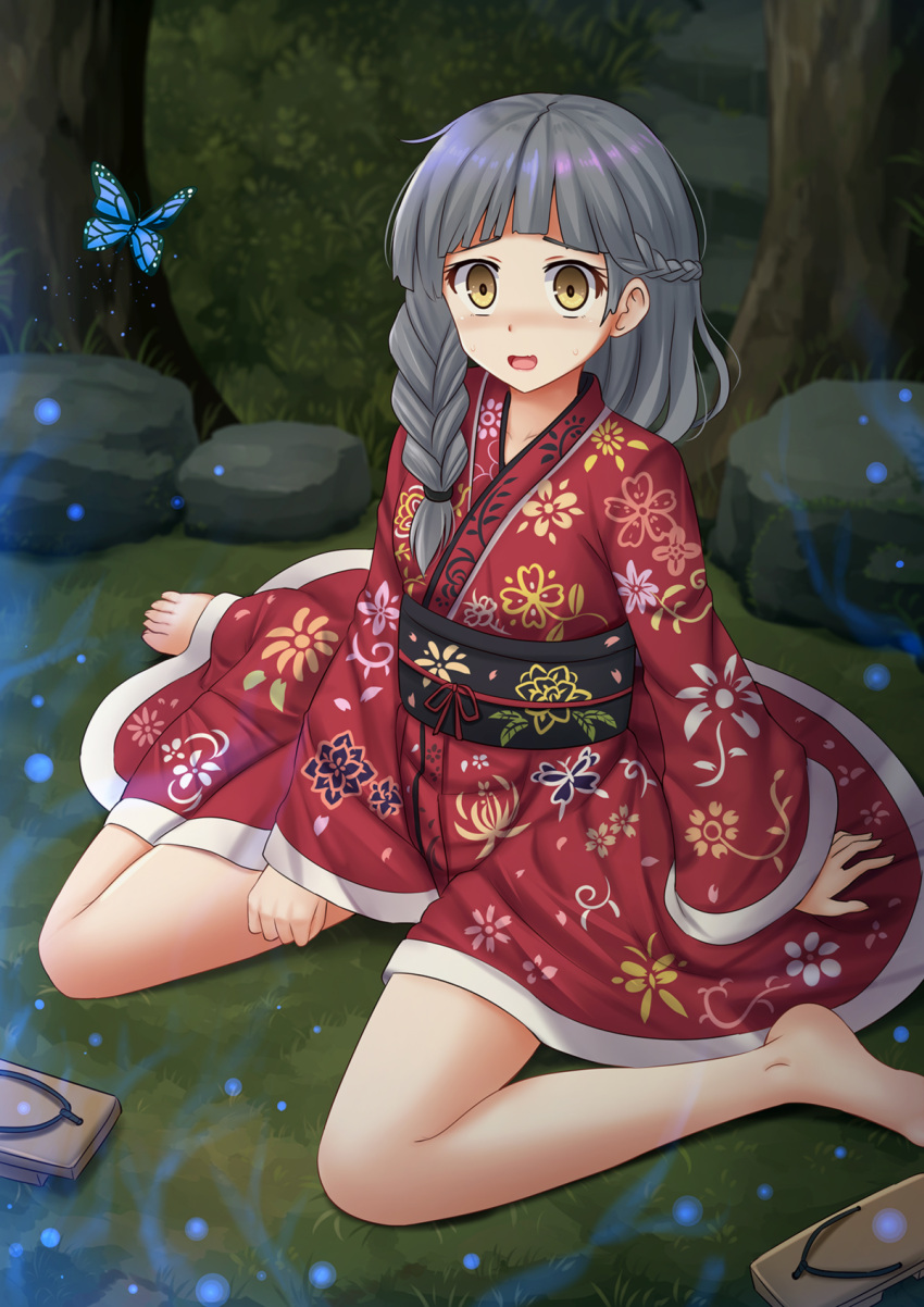 1girl animal bangs barefoot braid brown_eyes brown_footwear bug butterfly commission fingernails floral_print geta grass grey_hair hair_over_shoulder highres insect japanese_clothes kazenokaze kimono long_hair long_sleeves looking_at_viewer night obi on_grass open_mouth original outdoors print_kimono red_kimono sash sitting sleeves_past_wrists solo wariza wide_sleeves