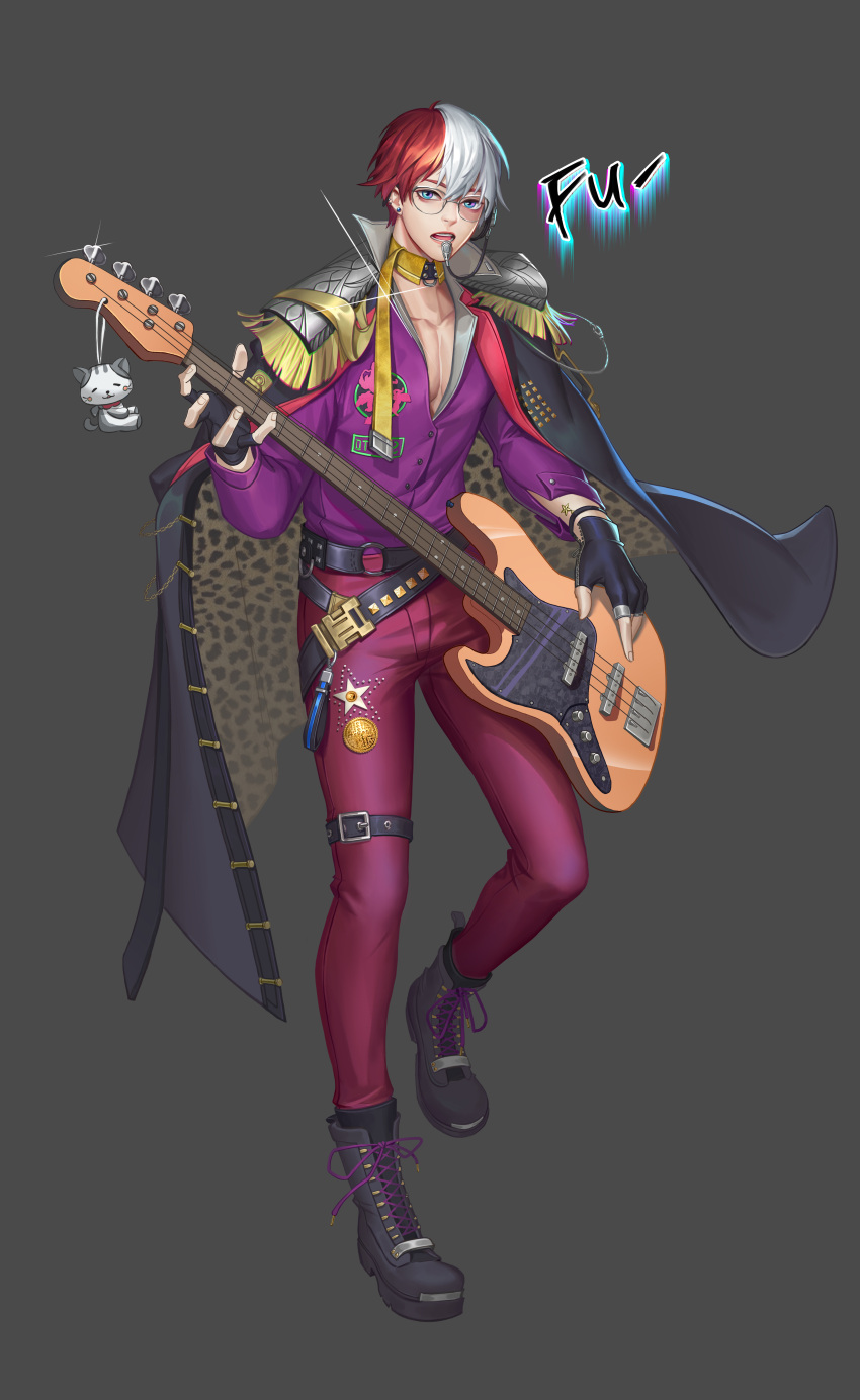 1boy absurdres alternate_costume belt black_belt black_footwear black_gloves boku_no_hero_academia boots burn_scar cat coin collarbone commentary_request fingerless_gloves glasses gloves grey_background guitar highres holding holding_instrument instrument jacket lingshao1994 long_sleeves looking_at_viewer multicolored_hair pants pink_pants purple_jacket redhead scar short_hair simple_background star todoroki_shouto two-tone_hair white_hair