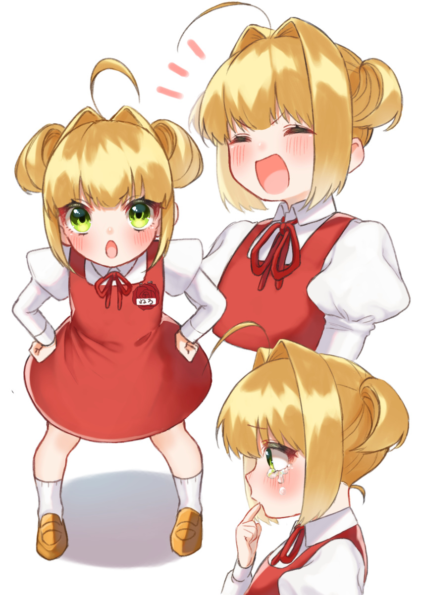 1girl absurdres ahoge blonde_hair blush child crying dress fate/extra fate_(series) green_eyes hair_intakes hands_on_hips highres juliet_sleeves leaning_forward long_hair long_sleeves multiple_views nero_claudius_(fate) nero_claudius_(fate)_(all) puffy_sleeves red_dress short_twintails smile tears twintails yayoimaka03 younger
