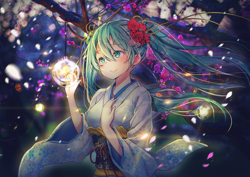 1girl bangs blush burning candle candlelight closed_mouth commentary eyebrows_behind_hair fire floating_hair floral_print flower goyain green_eyes green_hair hair_between_eyes hair_flower hair_ornament hands_up hatsune_miku highres japanese_clothes kimono long_hair long_sleeves looking_away obi print_kimono red_flower sash smile solo tree_branch twintails very_long_hair vocaloid white_kimono wide_sleeves