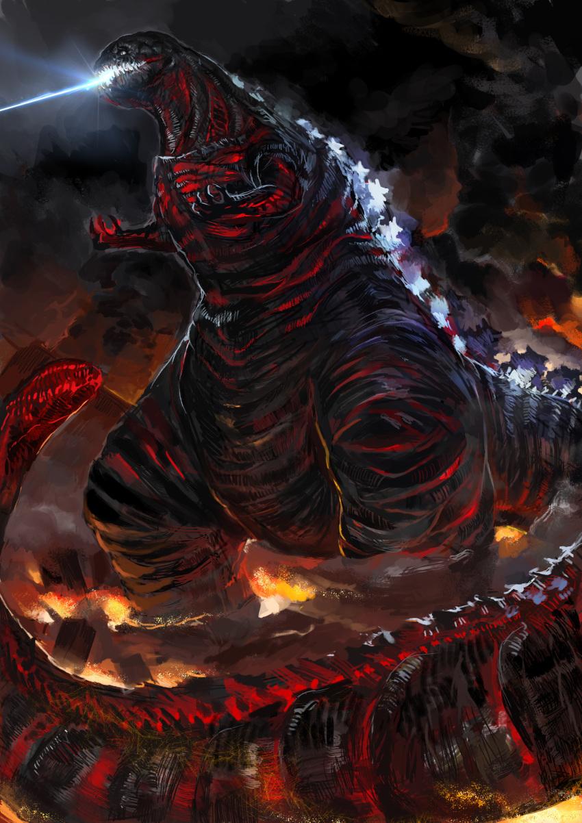 absurdres black_clouds dinosaur fire godzilla highres kaijuu laser_beam monster no_humans open_mouth ritsu24 shin_godzilla smoke standing tail teeth