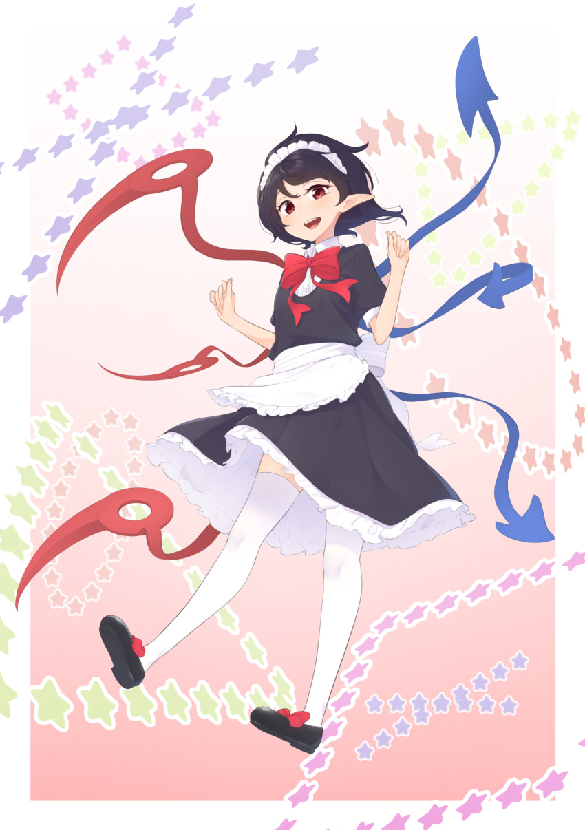 1girl :d alternate_costume apron arms_up asymmetrical_wings black_footwear black_hair black_shirt black_skirt bow bowtie commentary_request enmaided fingernails full_body gradient gradient_background head_tilt highres houjuu_nue kanpa_(campagne_9) leg_lift looking_at_viewer maid maid_headdress open_mouth petticoat pink_background pointy_ears puffy_short_sleeves puffy_sleeves red_eyes red_neckwear shirt shoe_bow shoes short_hair short_sleeves skirt smile solo standing standing_on_one_leg star starry_background thigh-highs touhou upper_teeth waist_apron white_legwear wings
