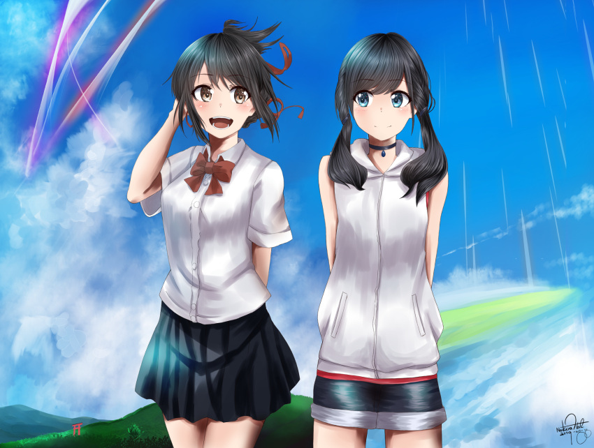 2girls amano_hina_(tenki_no_ko) arms_behind_back bare_arms black_hair black_skirt blue_sky braid brown_eyes clouds commentary_request cowboy_shot creator_connection french_braid hair_ribbon half_updo highres hood hood_down hoodie jacket kimi_no_na_wa. looking_at_viewer low_twintails miniskirt miyamizu_mitsuha mountain multiple_girls nakura_haru outdoors red_ribbon ribbon school_uniform short_hair short_shorts short_sleeves shorts skirt sky sleeveless sleeveless_hoodie sleeveless_jacket standing tenki_no_ko torii twin_braids twintails white_hoodie white_jacket