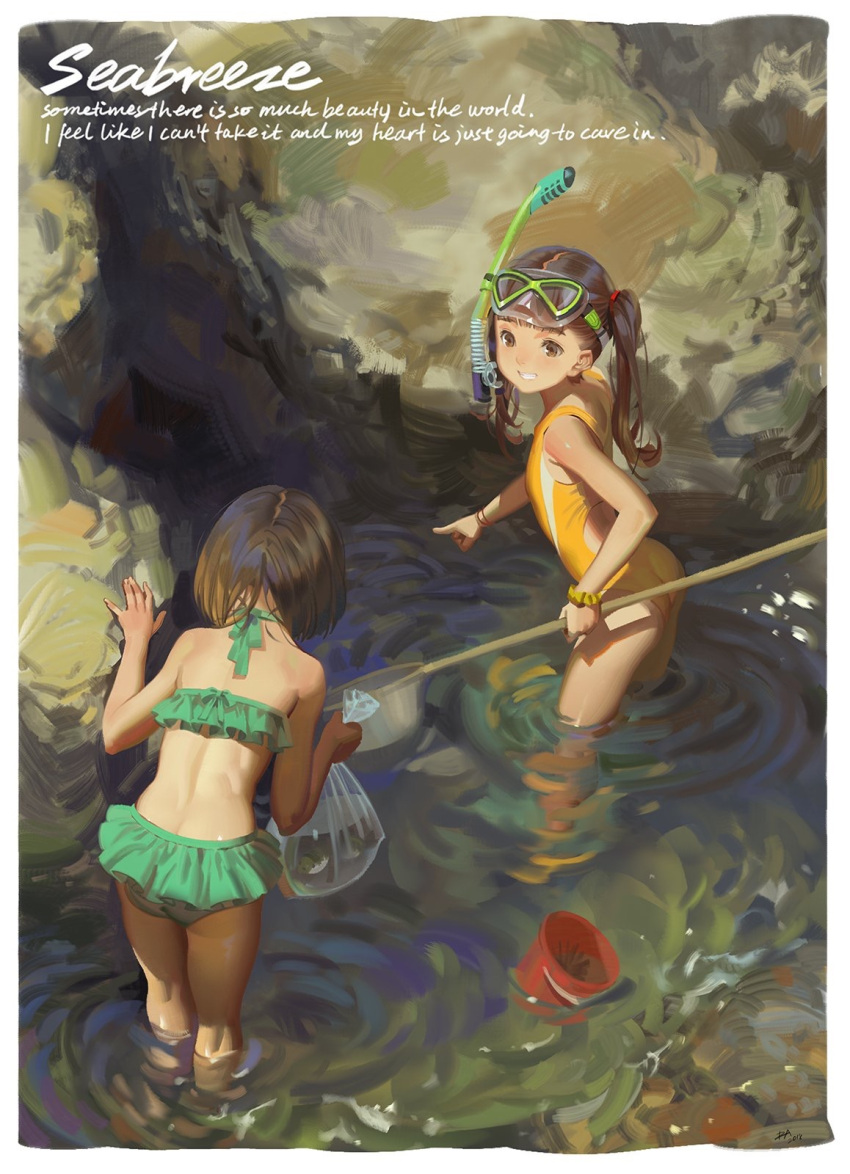 2girls alphonse_(white_datura) ass bag beach bikini bikini_skirt brown_hair bucket casual_one-piece_swimsuit english_text fish goggles goggles_on_head green_bikini grin highres kneepits legs long_hair multiple_girls net ocean one-piece_swimsuit original outdoors outstretched_arm plastic_bag pointing short_hair smile snorkel swimsuit twintails wading water yellow_swimsuit