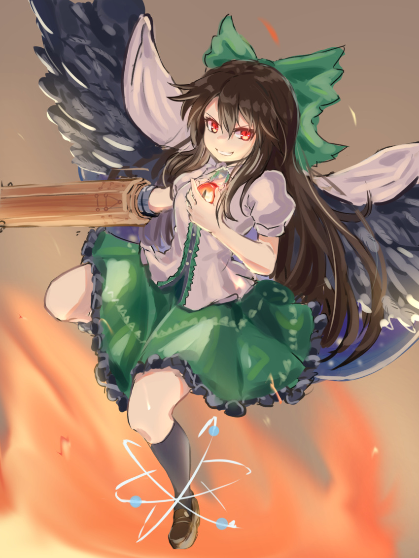 >:) 1girl arm_cannon atom bangs black_hair black_legwear black_wings bow breasts brown_background brown_footwear cape commentary feathered_wings fire forneus_0 green_bow green_skirt grin hair_between_eyes hair_bow highres kneehighs loafers long_hair looking_at_viewer medium_breasts miniskirt petticoat puffy_short_sleeves puffy_sleeves red_eyes reiuji_utsuho shirt shoes short_sleeves skirt smile solo touhou v-shaped_eyebrows very_long_hair weapon white_cape white_shirt wings