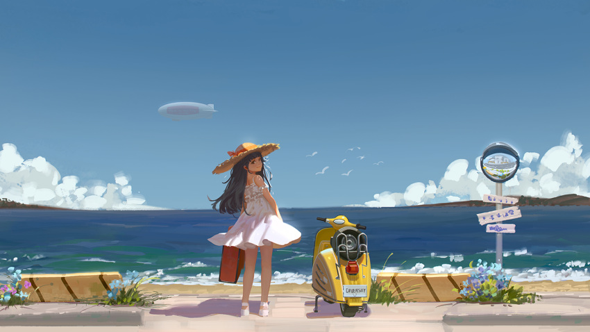 1girl aircraft bare_arms bare_legs bare_shoulders bird black_hair blue_sky brown_eyes clouds day dirigible dress eflilies from_behind ground_vehicle hat hat_ribbon horizon light_smile long_hair looking_at_viewer looking_back luggage moped motor_vehicle ocean original outdoors ribbon road shoes shore sky solo straw_hat street sun_hat tan white_dress white_footwear