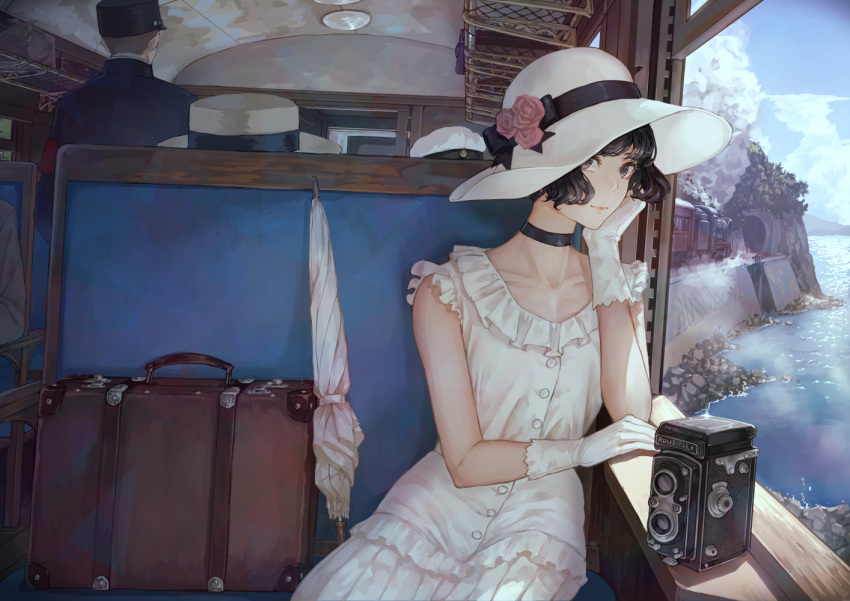 1boy 1girl bangs black_eyes black_hair bob_cut chin_rest choker dress frills gloves ground_vehicle hat looking_at_viewer original short_hair sitting smile solo_focus steam suitcase sun_hat train train_interior umbrella white_gloves window yasukura_(shibu11)