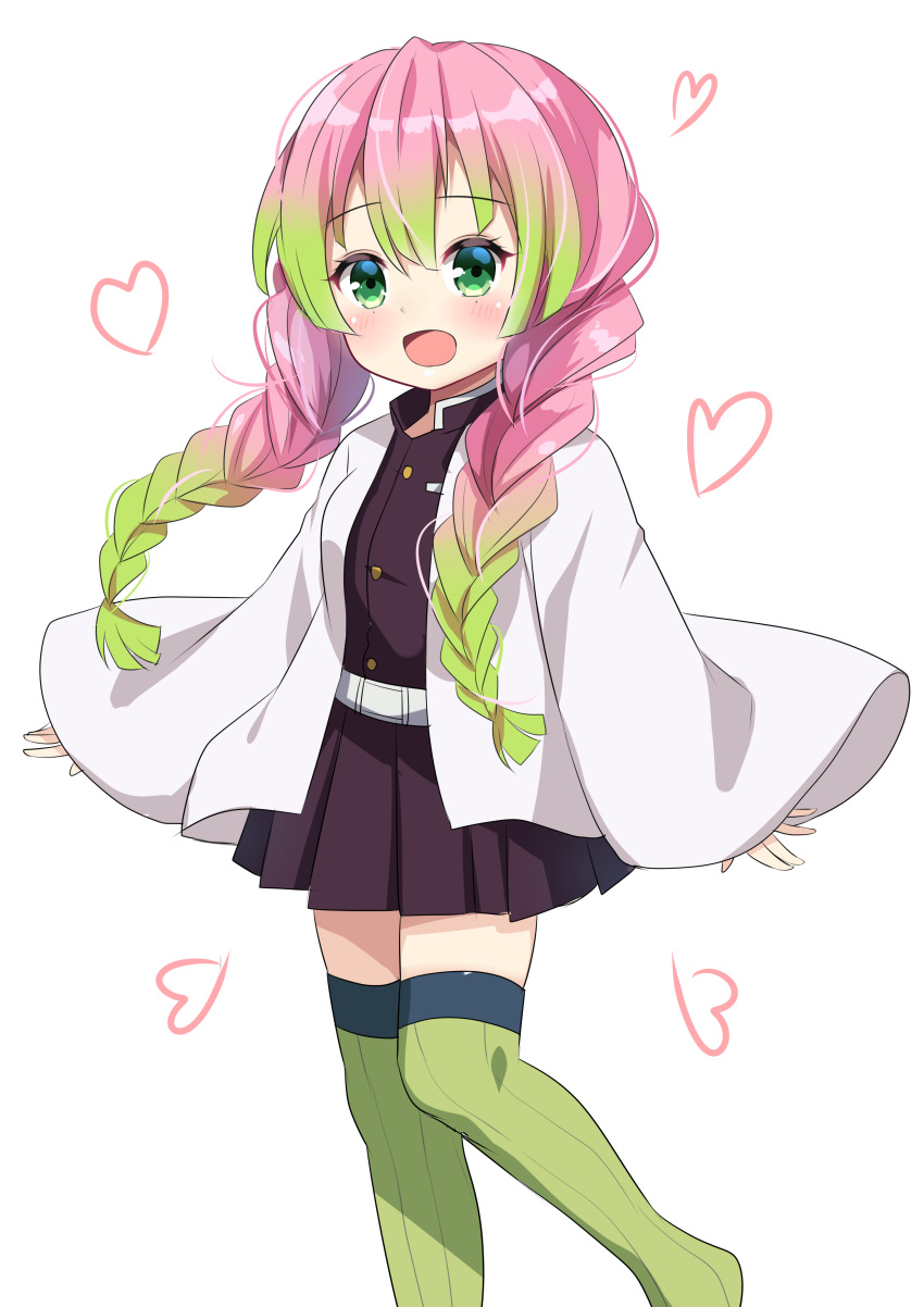 1girl :d absurdres agung_syaeful_anwar bangs belt belt_buckle black_jacket black_skirt blush braid buckle eyebrows_visible_through_hair feet_out_of_frame gradient_hair green_eyes green_hair green_legwear hair_between_eyes heart highres jacket kanroji_matsuri kimetsu_no_yaiba long_hair long_sleeves looking_at_viewer multicolored_hair no_shoes open_clothes open_mouth pink_hair pleated_skirt simple_background skirt sleeves_past_wrists smile standing standing_on_one_leg thigh-highs twin_braids twintails very_long_hair white_background white_belt wide_sleeves younger