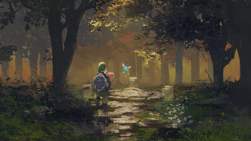 fairy forest highres link nature rsef shield sword the_legend_of_zelda the_legend_of_zelda:_link's_awakening tree tunic weapon