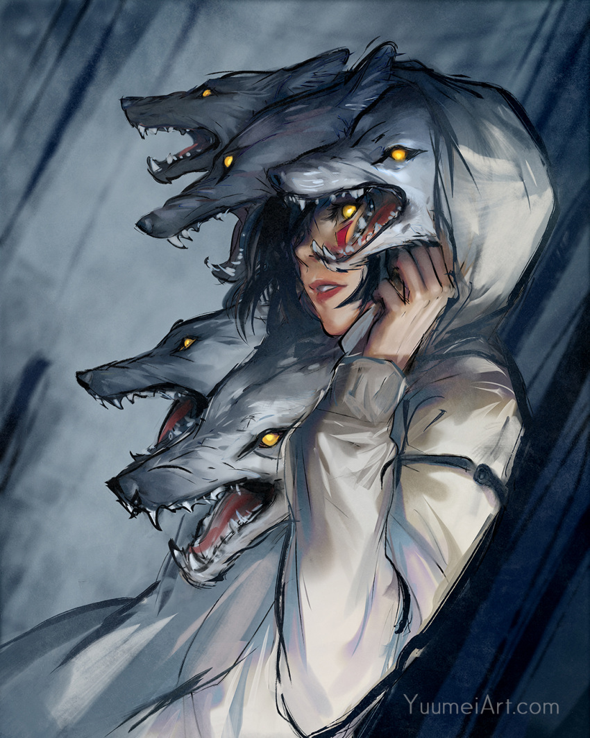 1girl black_hair dutch_angle english_commentary facepaint grey_background highres hood hood_up hoodie lips looking_at_viewer mononoke_hime parted_lips profile san short_hair solo studio_ghibli upper_body watermark web_address wenqing_yan wolf yellow_eyes