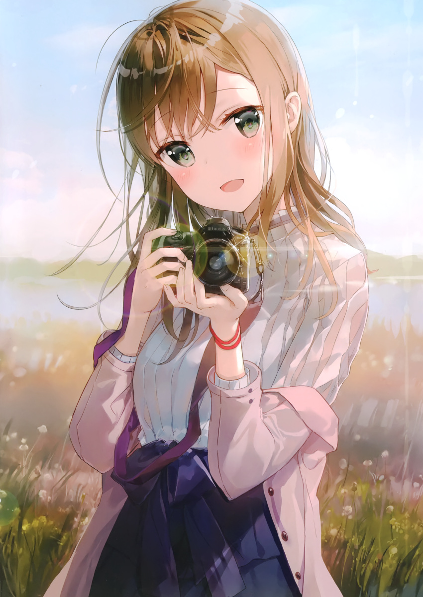 1girl :d absurdres bangs blue_bow blue_skirt blue_sky blurry blurry_background blush bow breasts brown_hair camera clouds coat day depth_of_field eyebrows_visible_through_hair field fingernails fuumi_(radial_engine) green_eyes hair_between_eyes hands_up head_tilt highres holding holding_camera layered_skirt lens_flare long_hair long_sleeves looking_at_viewer medium_breasts off_shoulder open_clothes open_coat open_mouth original outdoors pink_coat ribbed_sweater scan skirt sky smile solo standing sunlight sweater white_sweater