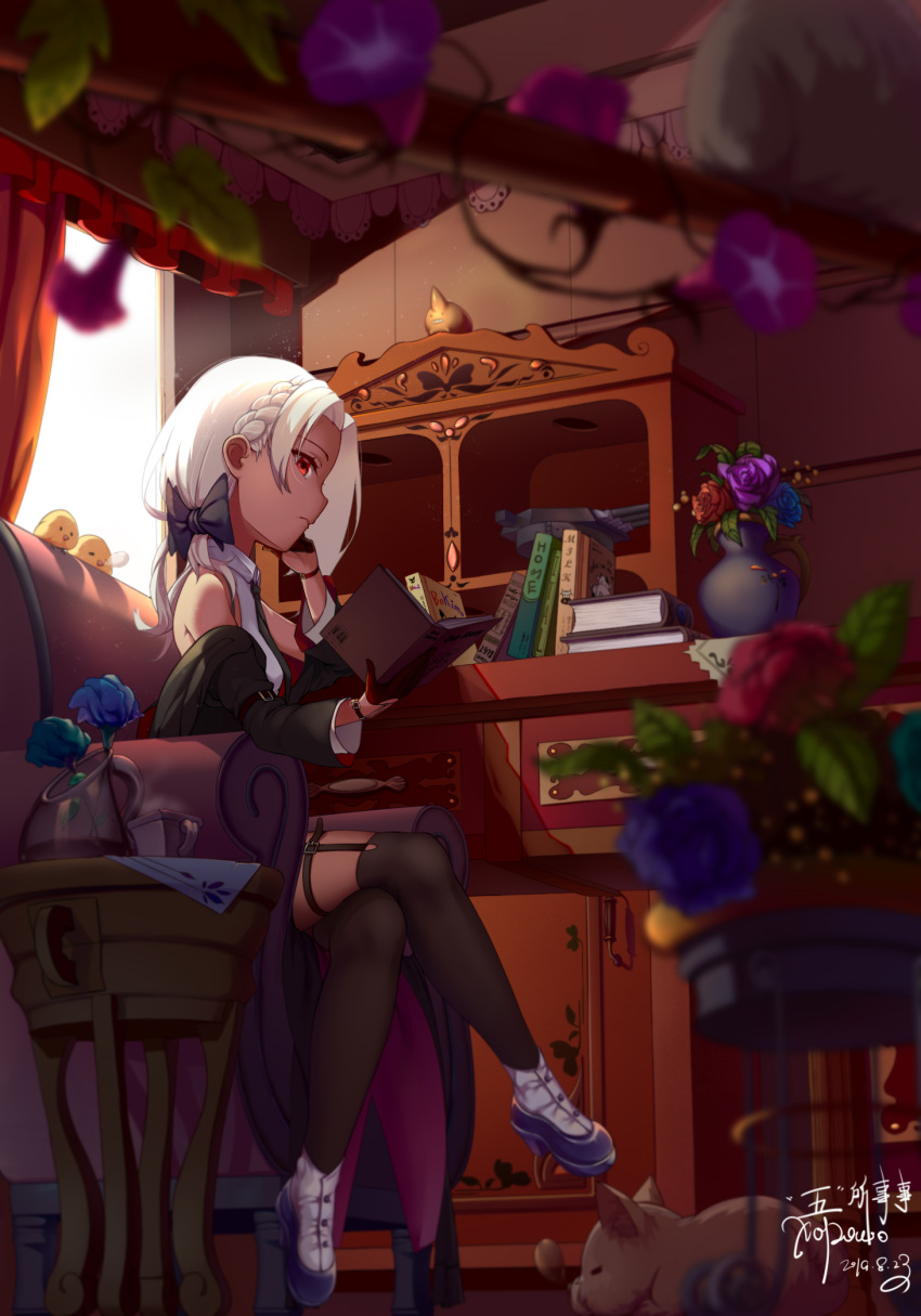 1girl black_gloves black_jacket black_legwear black_neckwear blue_flower book chair commentary_request flower flower_pot gloves half_gloves highres holding holding_book indoors jacket khorosho necktie off_shoulder pot purple_flower red_eyes red_flower shirt short_hair sitting sleeveless sleeveless_shirt solo table thigh-highs vittorio_veneto_(warship_girls_r) warship_girls_r white_footwear white_hair white_shirt window