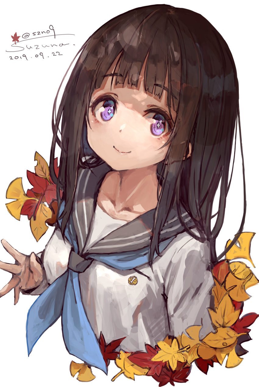 +_+ 10s 1girl 2019 autumn_leaves bangs black_hair blue_neckwear chitanda_eru closed_mouth collarbone commentary_request cropped_torso cute dated eyebrows_visible_through_hair female_focus grey_sailor_collar highres hyouka kadokawa_shoten kyoto_animation leaf long_hair long_sleeves looking_at_viewer maple_leaf neckerchief sailor_collar school_uniform serafuku shirt signature simple_background sleeves_past_wrists smile solo suzuno_(bookshelf) twitter_username violet_eyes white_background white_shirt