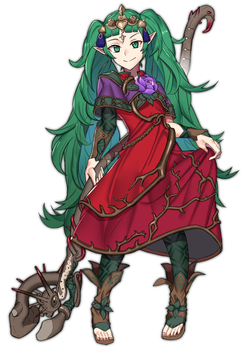 1girl absurdres closed_mouth commission cosplay dragon_girl dress ebinku elf fire_emblem fire_emblem:_fuukasetsugetsu fire_emblem:_three_houses fire_emblem_heroes flower full_body green_eyes green_hair hair_ornament highres holding holding_staff intelligent_systems kid_icarus kid_icarus_uprising koei_tecmo loli long_hair manakete nachure nachure_(cosplay) nintendo nintendo_ead palutena_no_kagami pointy_ears simple_background smile solo sora_(company) sothis_(fire_emblem) staff super_smash_bros. tiara viridi viridi_(cosplay) white_background